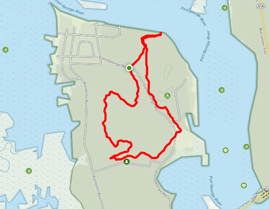 Fort George Island Hiking Trail Map
